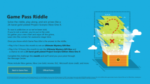 Riddle challenge for Microsoft Xbox Game Pass
